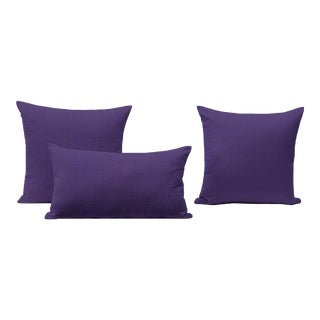 Purple Outdoor Throw Pillows - Set of 3 For Sale