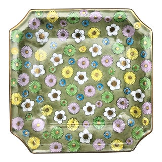 1960s Chinoiserie Gilt Flower Power Porecelain Square Trinket Dish For Sale