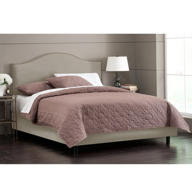 Velvet Light Grey Full Notched Nail Button Bed For Sale - Image 4 of 8
