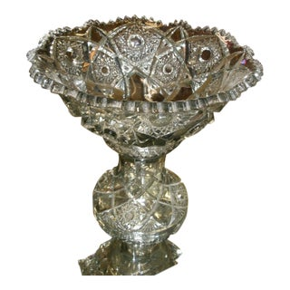American Brilliant Style Heavy Glass Pedestal Punch Bowl For Sale