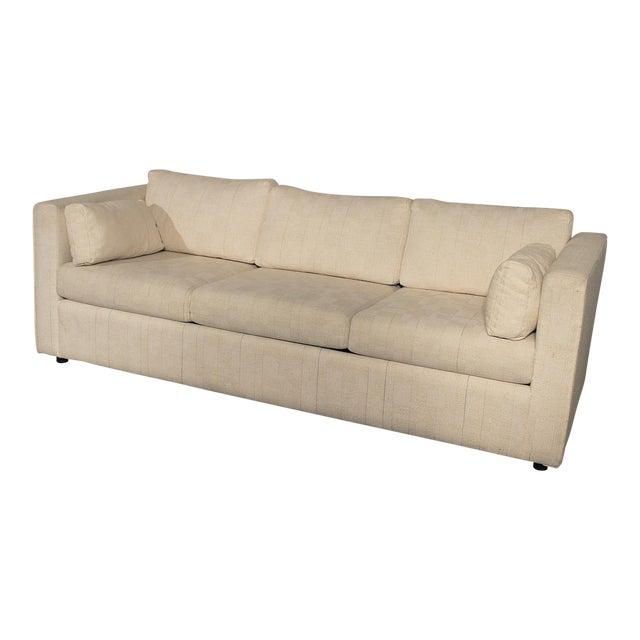 Mid-Century White Tuxedo Style Sleeper Sofa - Image 1 of 7