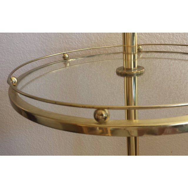 Contemporary Mid-Century Stiffel Brass & Glass Shelf Floor Lamp For Sale - Image 3 of 8