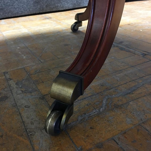 Traditional Cherry-Wood Drum Table W/ Brass Casters - Image 6 of 8