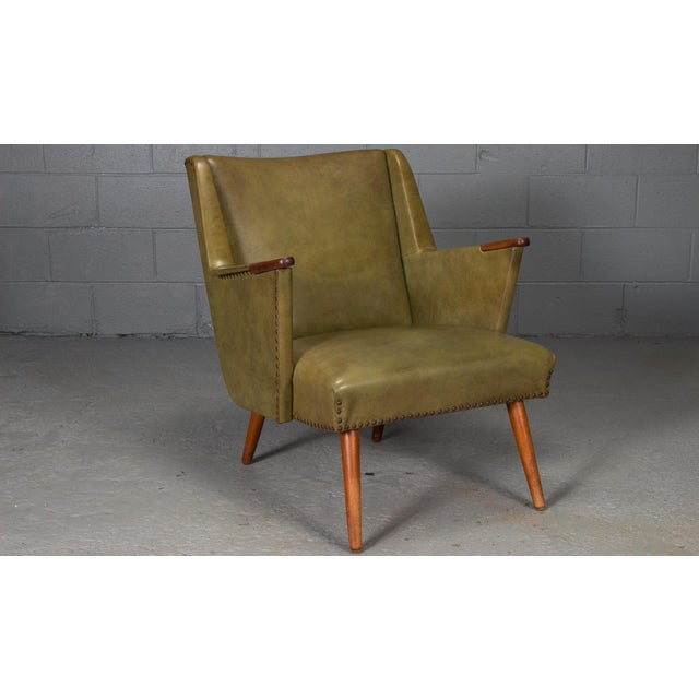 1950s Mid-Century Modern Green Teak Lounge Easy Chair For Sale - Image 9 of 9