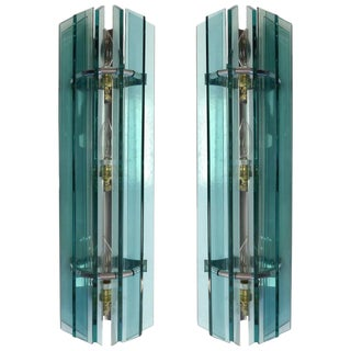 1960s Mid-Century Modern Italian Glass Sconces From Veca - a Pair For Sale