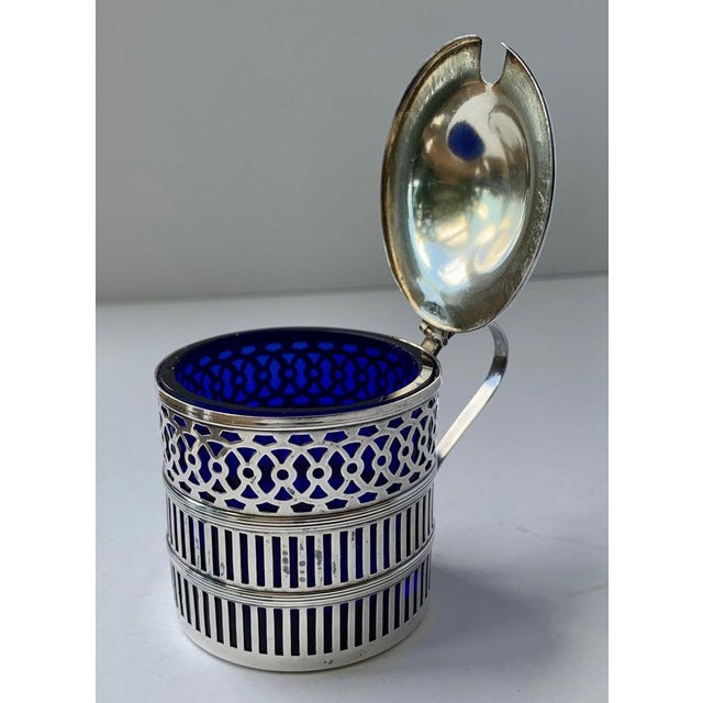 Sterling Silver Mustard Pot With a Cobalt Blue Glass Liner For Sale - Image 4 of 9