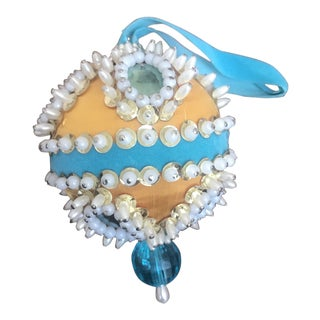 1960s Mid Century Beaded Fancy Christmas Ornament Tiffany Blue Gold White For Sale