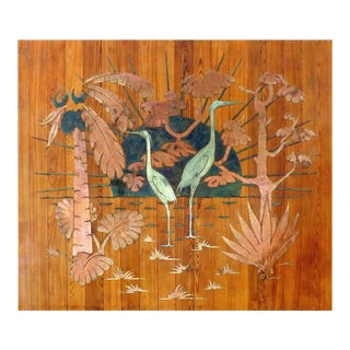 1940s Gustav Bohlan Mixed Metals Tropical Wall Sculpture For Sale