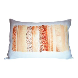 Coral Colorway Lumbar Linen Pillow For Sale