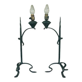 1910s Early American Hand-Wrought Iron Faux Oil Electric Table Lamps - a Pair For Sale
