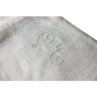 "Vintage French White Linen Cotton Damask ""VT"" Christmas Tablecloth - 62"" x 90"" For Sale"