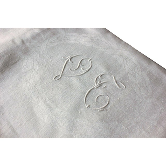 """Vintage French White Linen Cotton Damask """"VT"""" Christmas Tablecloth - 62"""" x 90"""" For Sale"""