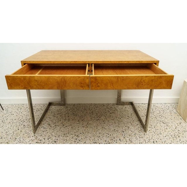 Burlwood and Nickel Writing desk by Milo Baughman from a palm Beach estate. Professioally restored.