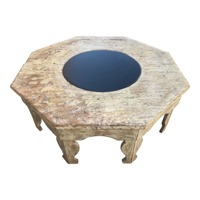 Moroccan Distressed Wood Octagonal Coffee Table For Sale
