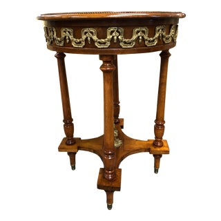 Vintage Louis XVI Wood Side Table With Gilded Ormalu & Verdi Marble Top For Sale