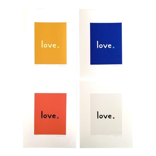 """""""Primary"""" Contemporary Fine Art Giclee Love Prints by Neicy Frey - Set of 4 For Sale"""