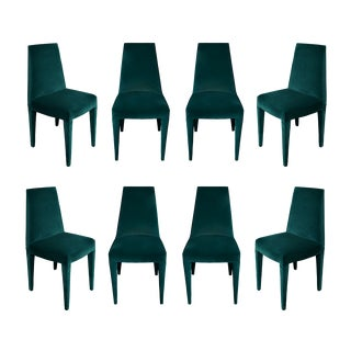 1970s Vintage Stiletto Mohair Dining Chairs - Set of 8 For Sale