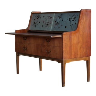 Danish Mid Century Modern Petite Vanity Desk with Glass Etchings For Sale