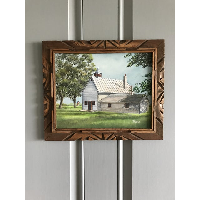 Canvas Vintage Mid-Century Schoolhouse Acrylic on Canvas Painting For Sale - Image 7 of 7