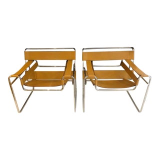 Vintage Mid Century Marcel Breuer Wassily Chairs- A Pair For Sale