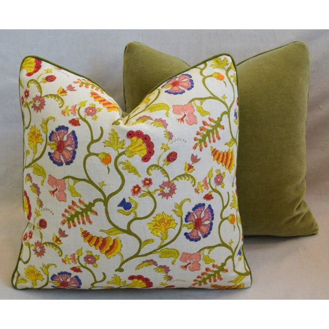 """Raoul Floral & Scalamadre Mohair Feather/Down Pillows 21"""" Square - Pair For Sale - Image 11 of 13"""