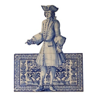19th Century Portuguese Blue and White Glazed Figural Azulejo For Sale