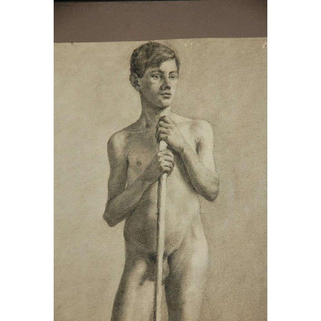 Art Nouveau Pair of Charcoal Italian Male Nude Drawings From 1880 For Sale - Image 3 of 10