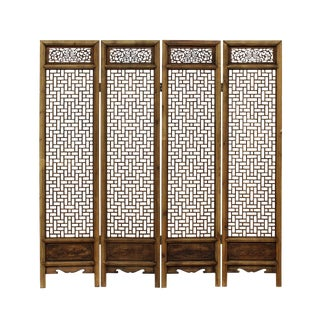 Chinese Vintage Finish Geometric Pattern Wood Panel Screen For Sale