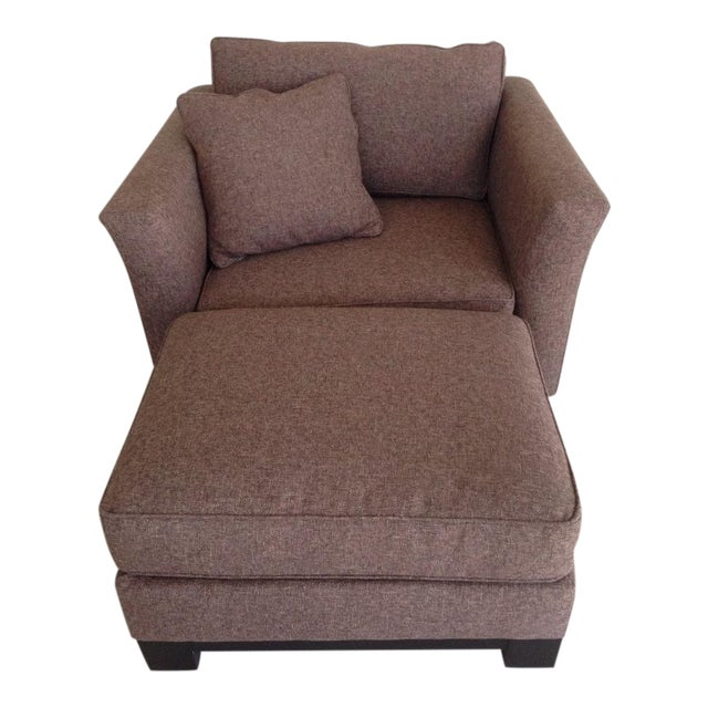 Jonathan Louis Kenton Contemporary Upholstered Armchair & Ottoman For Sale