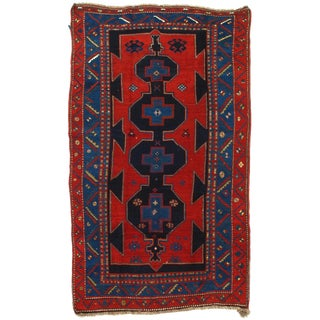 Late 19th Century Antique Russian Kazak Lambswool Rug - 5′6″ × 9′6″ For Sale