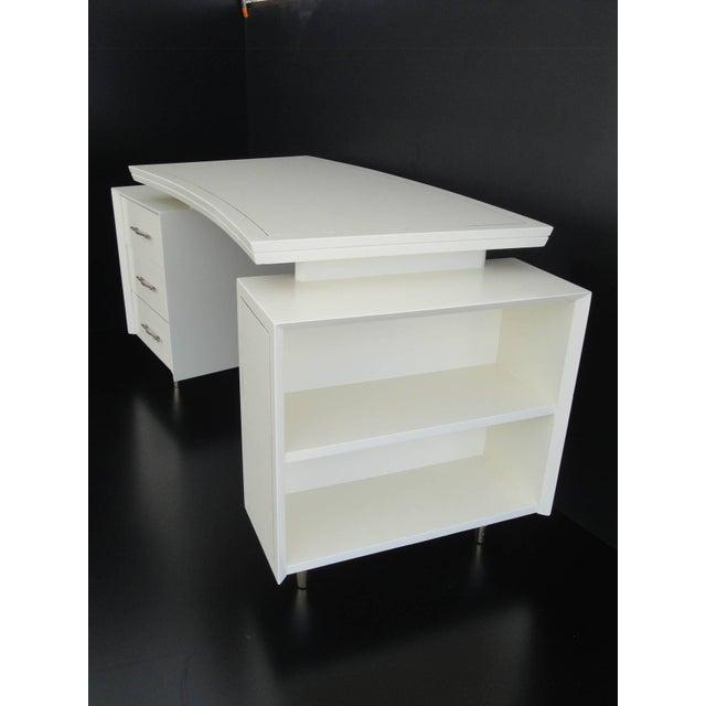 1960s Mid Century Modernist Floating Top Curved Partner Desk For Sale - Image 4 of 11