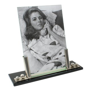Art Deco Picture Frame Black Opaline Glass Chrome For Sale