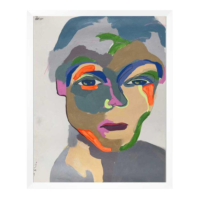 This abstract portrait is by contemporary artist Linda Ward of Detroit. This portrait is #78 out of a series of 500...