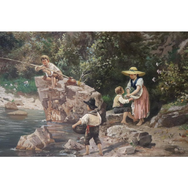 Canvas 19th Century Antique Italian Oil Painting on Canvas Impressionist Landscape For Sale - Image 7 of 9