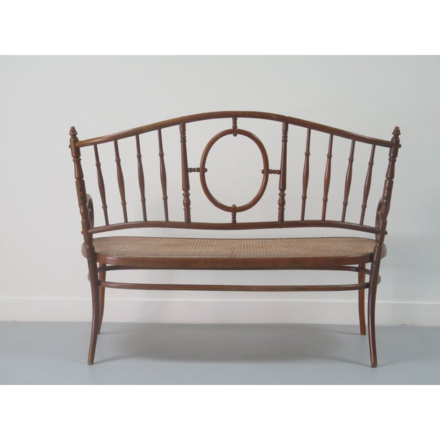 Thonet Early 20th Century Thonet Style Bentwood and Caned Settee For Sale - Image 4 of 13