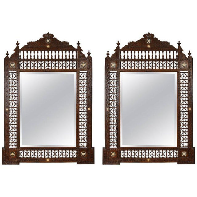 Pair of Syrian Damascus Mirrors Inlaid With Mother-Of-Pearl For Sale - Image 10 of 10