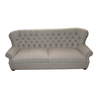 Gray Upholstered Houndstooth Sofa