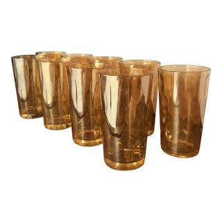 Vintage Carnival Glass Honeycomb Tumblers - Set of 9 For Sale