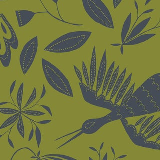 Julia Kipling Otomi Grand Wallpaper, Sample, in Olive Slate For Sale