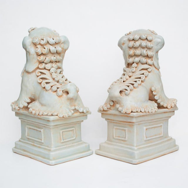 Mid 20th Century 20th Century Large Chinese Celadon Foo Lions - a Pair For Sale - Image 5 of 13