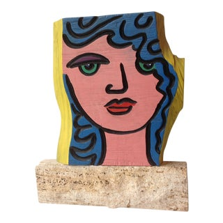 Pop Art Portrait Painting on Burlwood Live Edge Slab For Sale
