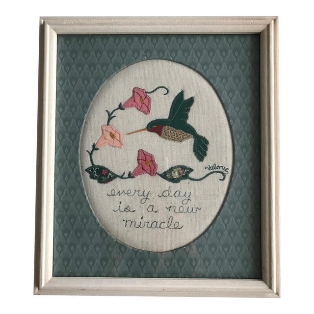 Every Day Is a New Miracle Wool Applique Folk Art For Sale