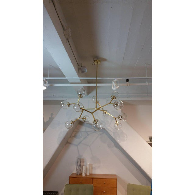 "Blueprint Lighting Brass & Glass Model 525 ""Macro Molecular"" Chandelier by Blueprint Lighting, 2018 For Sale - Image 4 of 5"