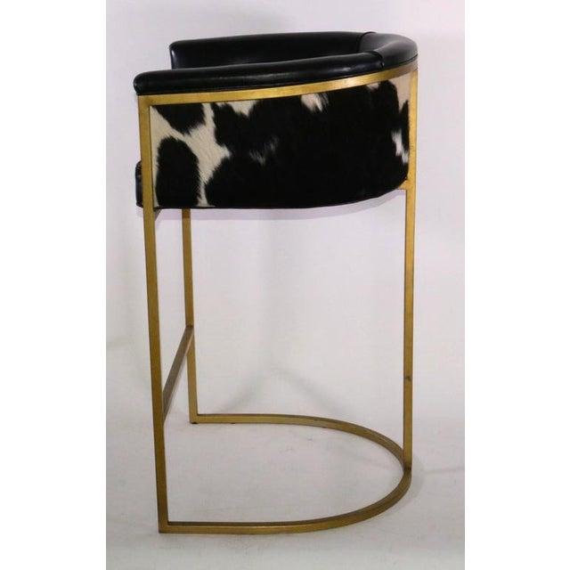 Bauhaus Modern Brass & Leather Stools - a Pair - Image 4 of 9