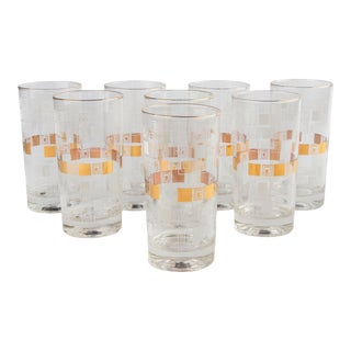 1950's Gold Geometric Abstract Collins Glasses For Sale