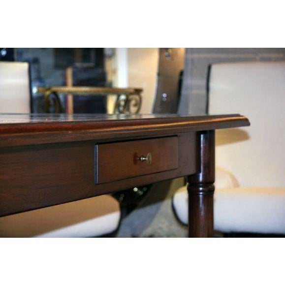 Brown Italian 50's Inlaid Zinc Oak Table For Sale - Image 8 of 9