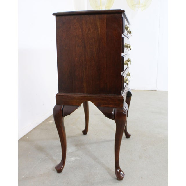 Chippendale Vintage Chippendale Statton Attributed Old Town Cherry Silver Chest For Sale - Image 3 of 13