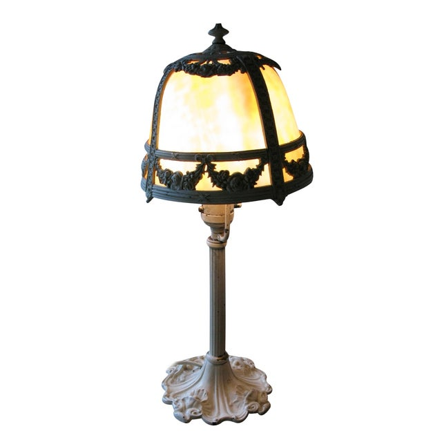 Cream Iron and Brass Slag Glass Lamp - Image 1 of 8