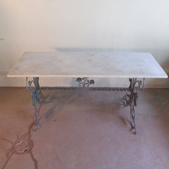 Gray Antique French Garden Console Table With Marble Top For Sale - Image 8 of 13