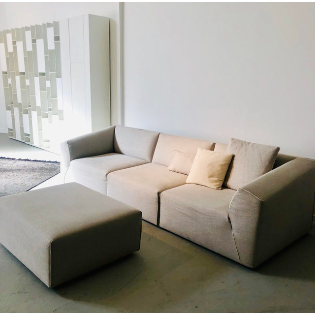 Wood Modern Modular Sofa and Ottoman Light Grey and White Piping by Mdf Italia For Sale - Image 7 of 12